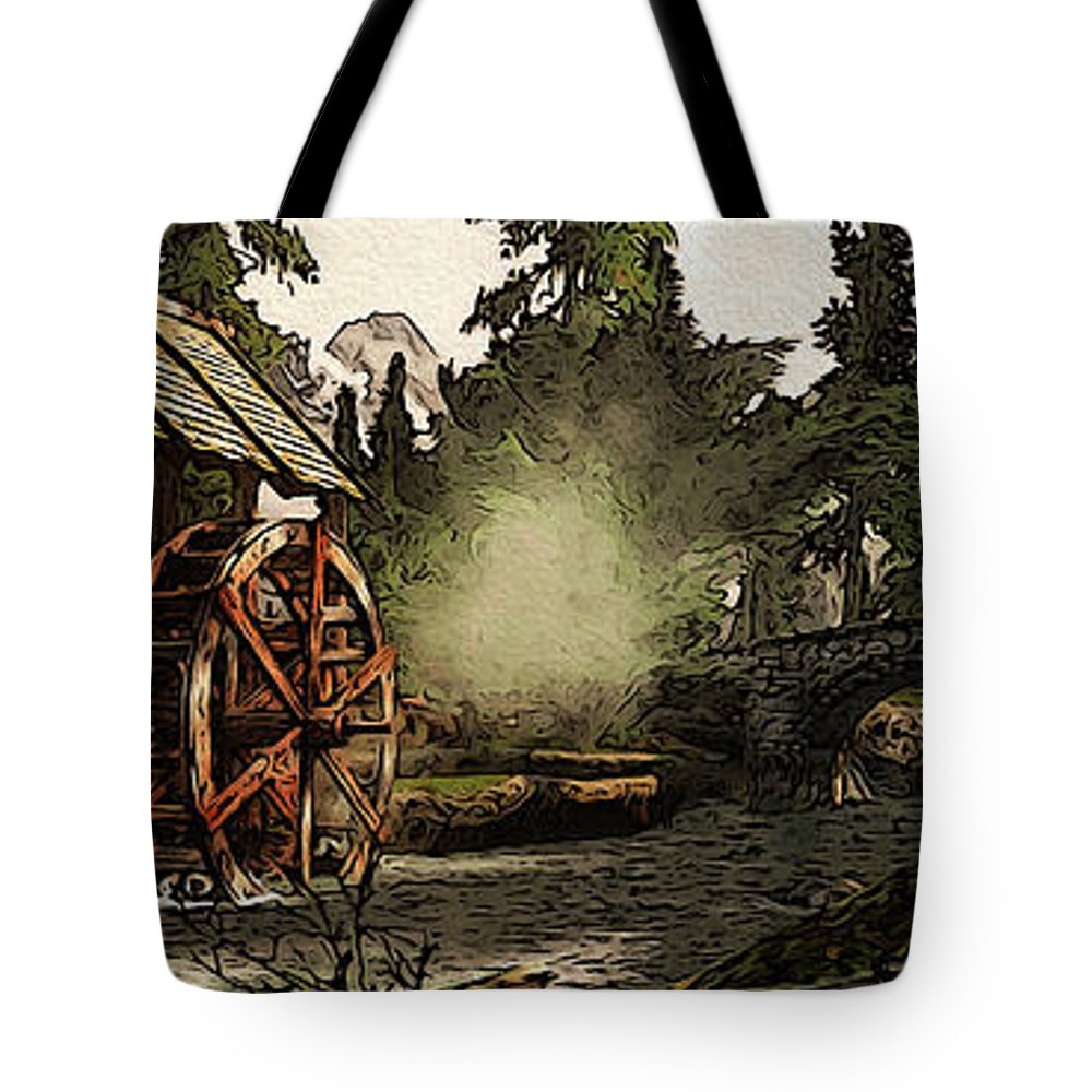 Ancient Watermill Tote Bag featuring the painting Old Watermill In The Forest by Andrea Mazzocchetti