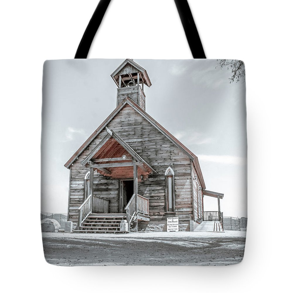 Old Tote Bag featuring the photograph Old West Church by Darrell Foster
