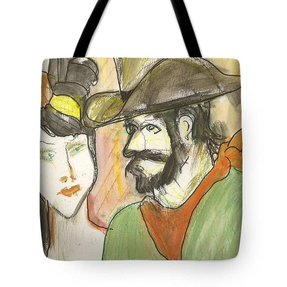 Cowboy Tote Bag featuring the painting Old West Couple by James Christiansen