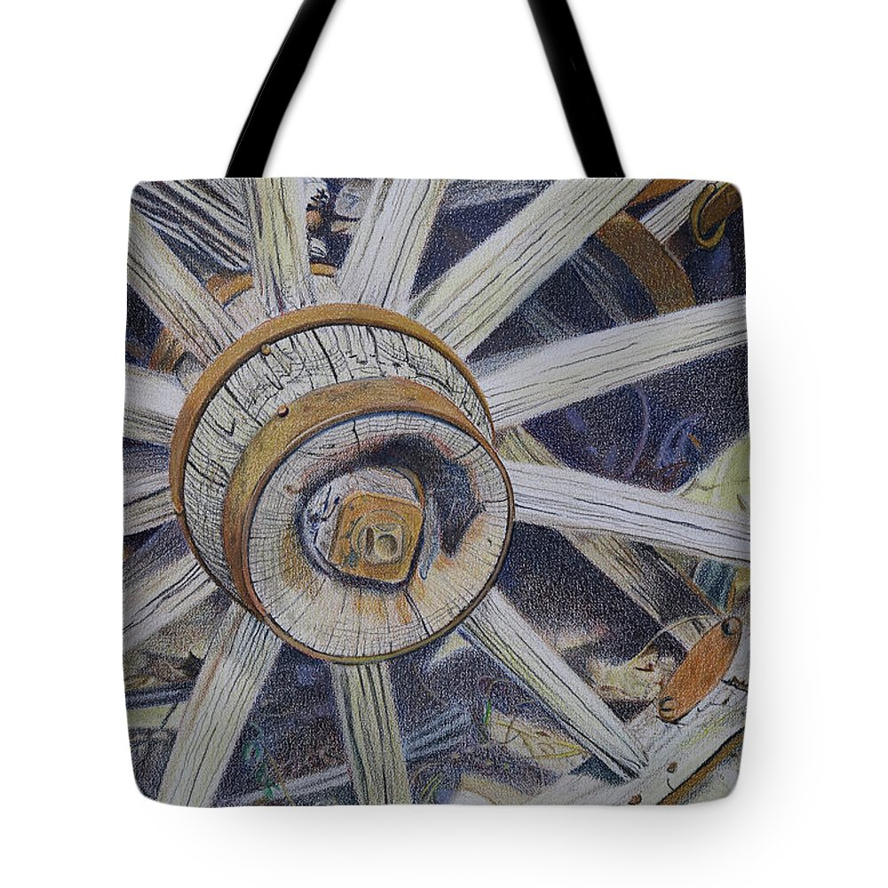 Drawing Tote Bag featuring the drawing Old West Wagon by Scott Kingery