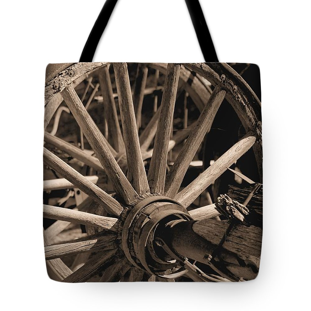 Wheels Tote Bag featuring the photograph Old Western Wagon # 5 by G Berry