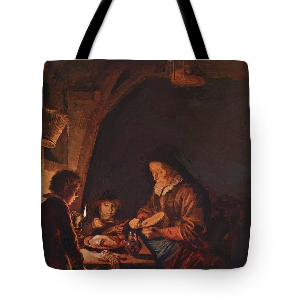 Old Tote Bag featuring the painting Old Woman Cutting Bread by Dou Gerrit
