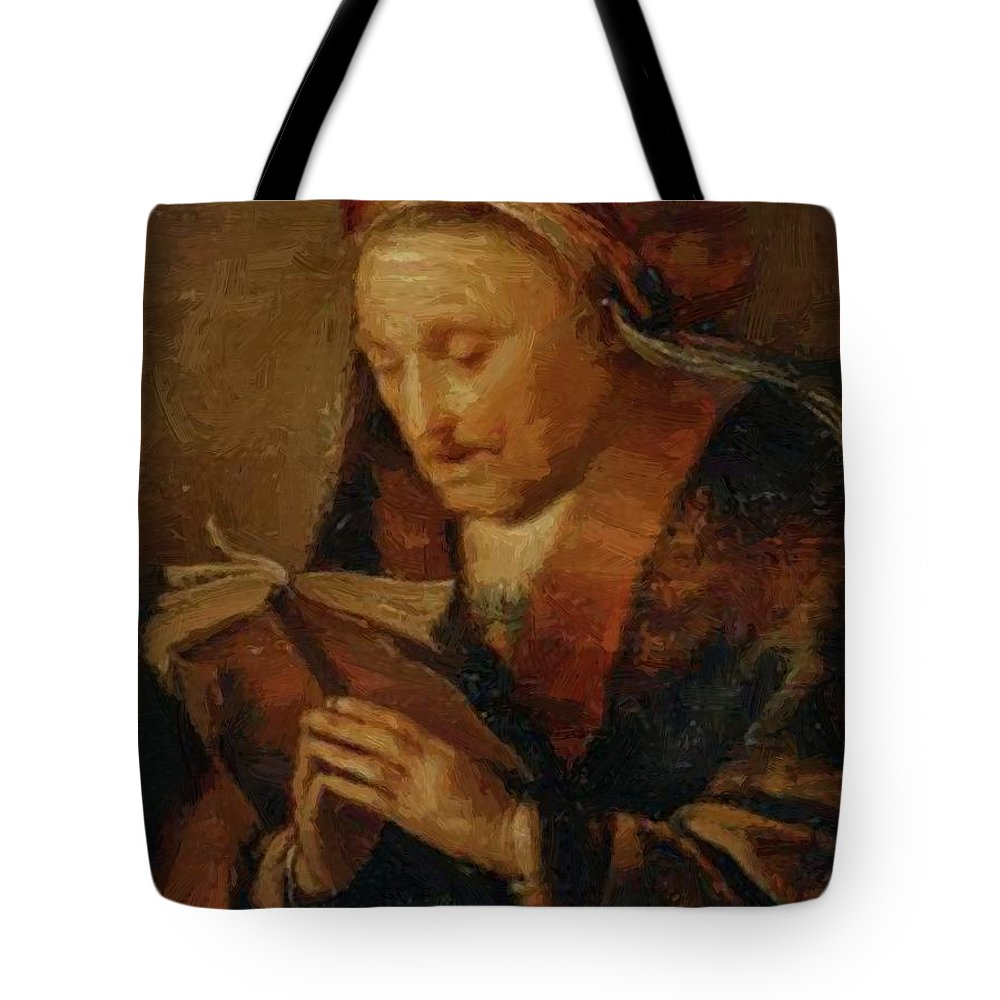 Old Tote Bag featuring the painting Old Woman Praying by Dou Gerrit