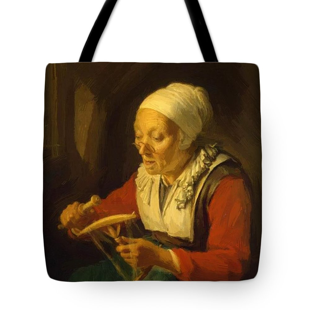 Old Tote Bag featuring the painting Old Woman Unreeling Threads 1665 by Dou Gerrit