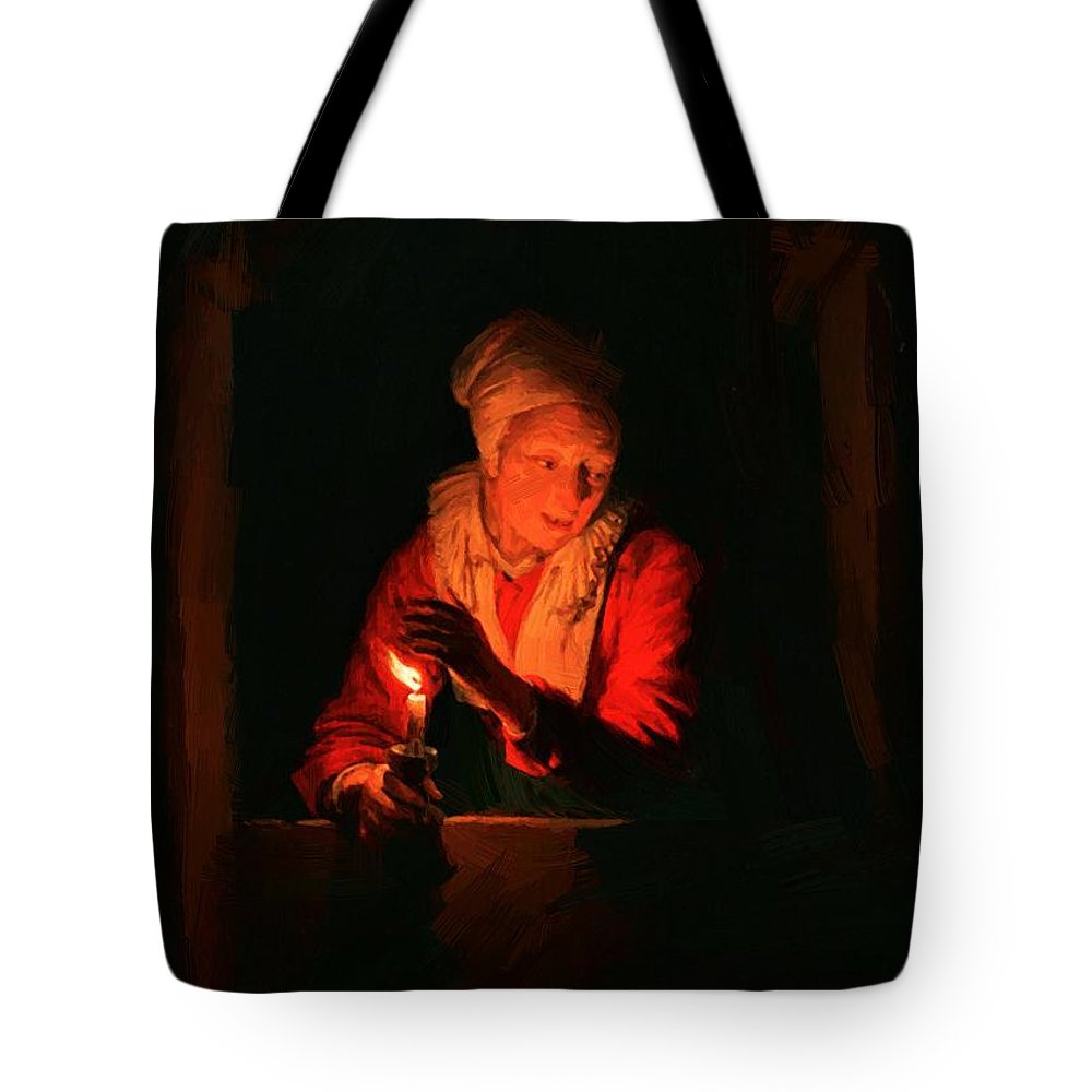 Old Tote Bag featuring the painting Old Woman With A Candle by Dou Gerrit