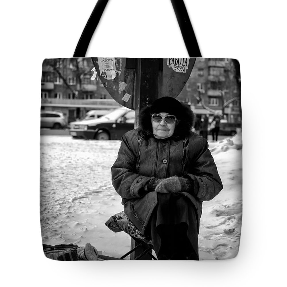 Selling Tote Bag featuring the photograph Old Women Selling Woollen Socks On The Street Monochrome by John Williams