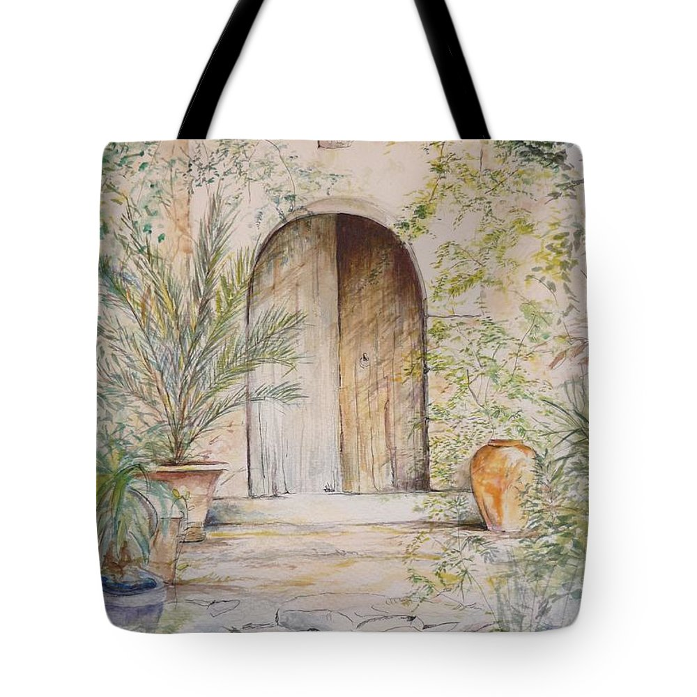 Door Tote Bag featuring the painting Old Wooden Door by Lizzy Forrester