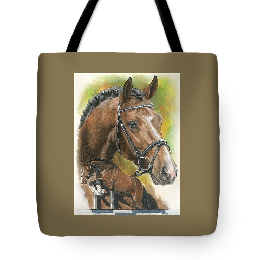 Hunter Jumper Tote Bag featuring the mixed media Oldenberg by Barbara Keith
