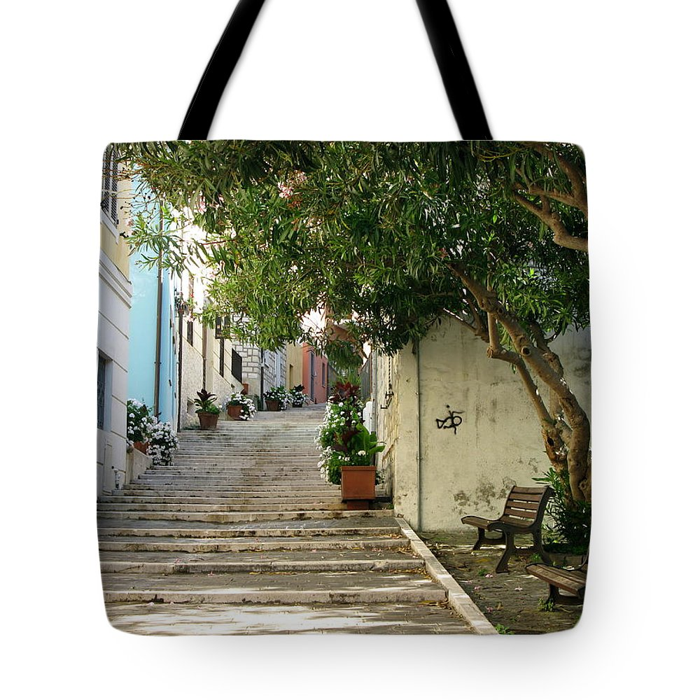 Numana Tote Bag featuring the photograph Oleander Steps by Maria Joy