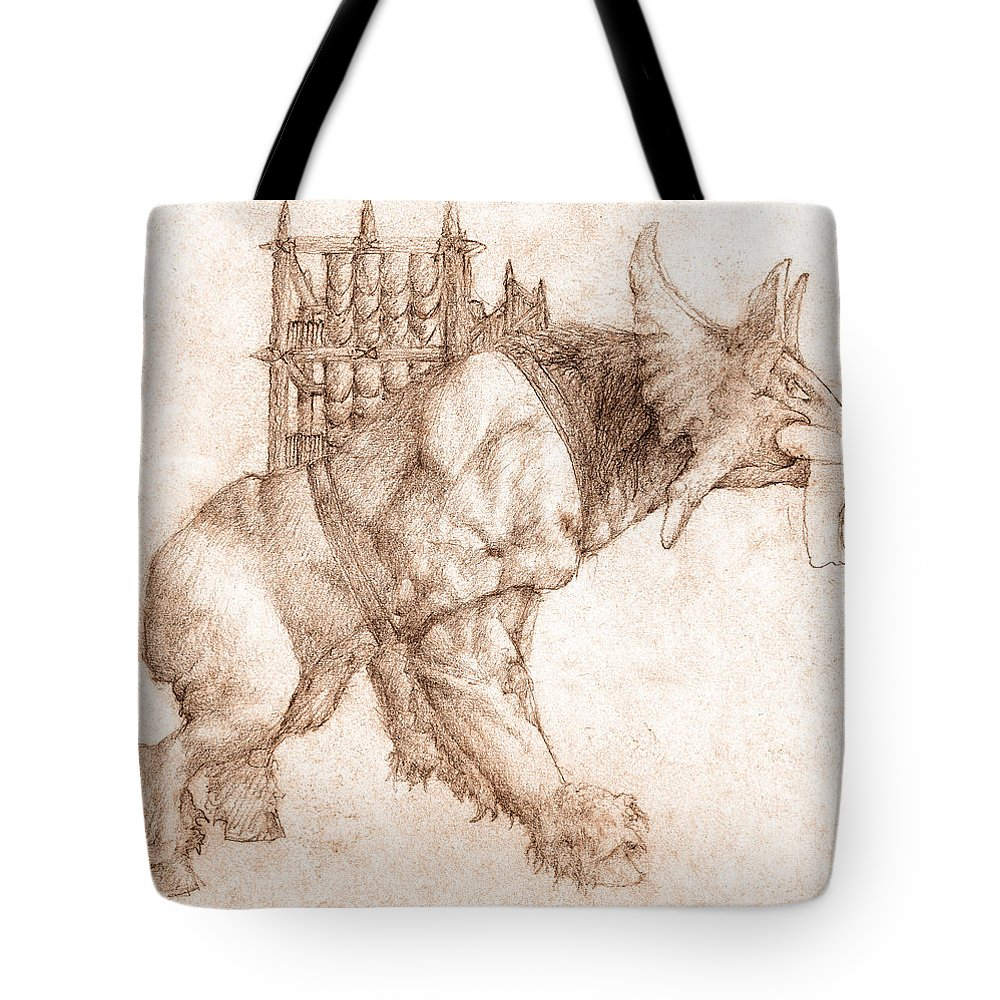 Lord Of The Rings Tote Bag featuring the drawing Oliphaunt by Curtiss Shaffer