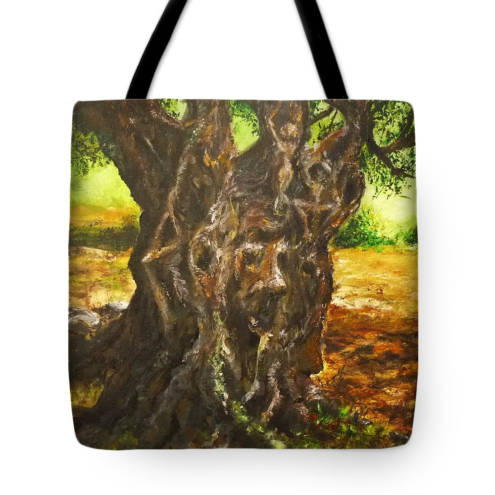 Tree Tote Bag featuring the painting Olive Tree Rooted 1 by Lizzy Forrester