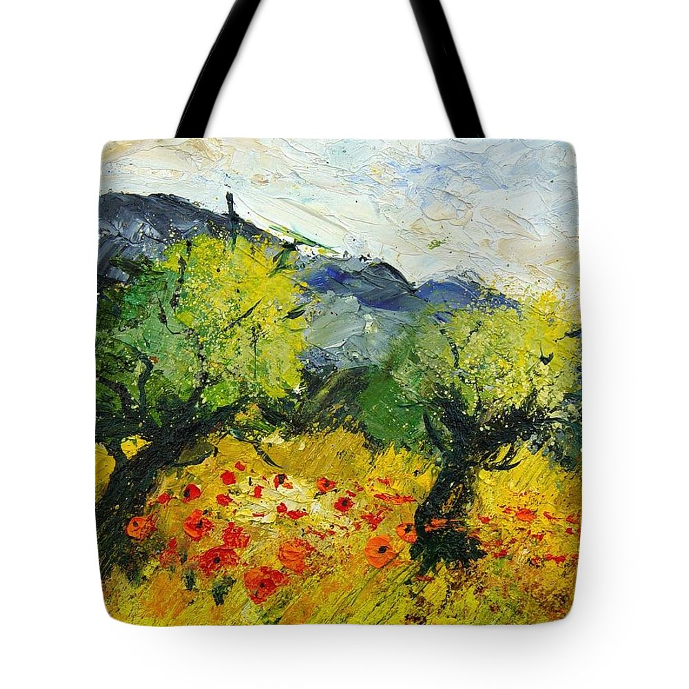 Flowers Tote Bag featuring the painting Olive Trees And Poppies by Pol Ledent