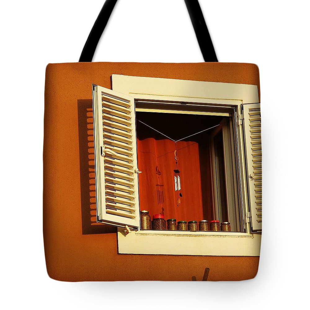 Window Tote Bag featuring the photograph Olive Window by John Kera