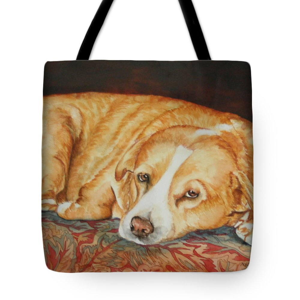 Dog Portrait Tote Bag featuring the painting Oliver by Ayal Armon