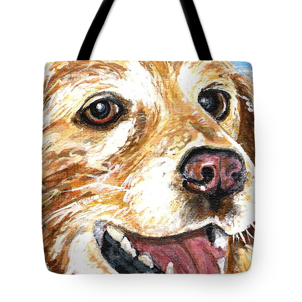 Charity Tote Bag featuring the painting Oliver From Muttville by Mary-Lee Sanders
