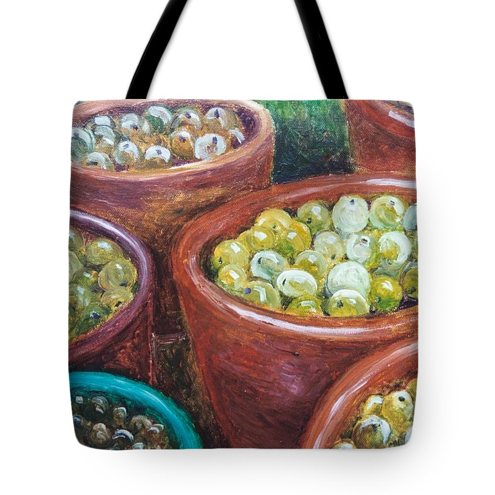 Olives Tote Bag featuring the painting Olives By The Crock by Jun Jamosmos