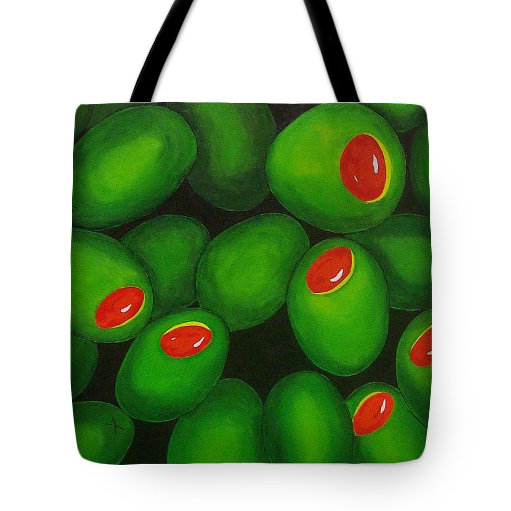 Olive Tote Bag featuring the painting Olives by Micah Guenther