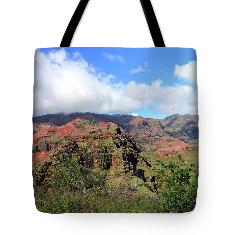 Canyon Tote Bag featuring the photograph Olokele Canyon From Robinson Ranch by Mary Haber