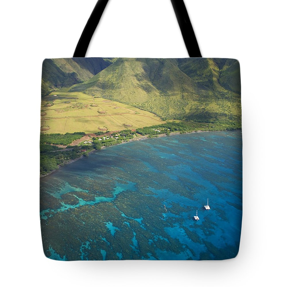 Above Tote Bag featuring the photograph Olowalu Aerial by Ron Dahlquist - Printscapes