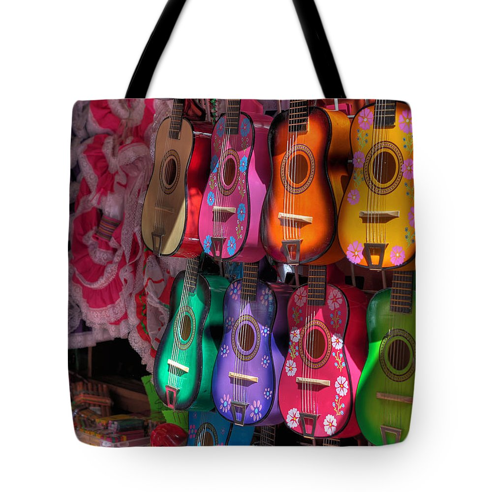 Hdr Tote Bag featuring the photograph Olvera Street Ukeleles by Richard Hinds