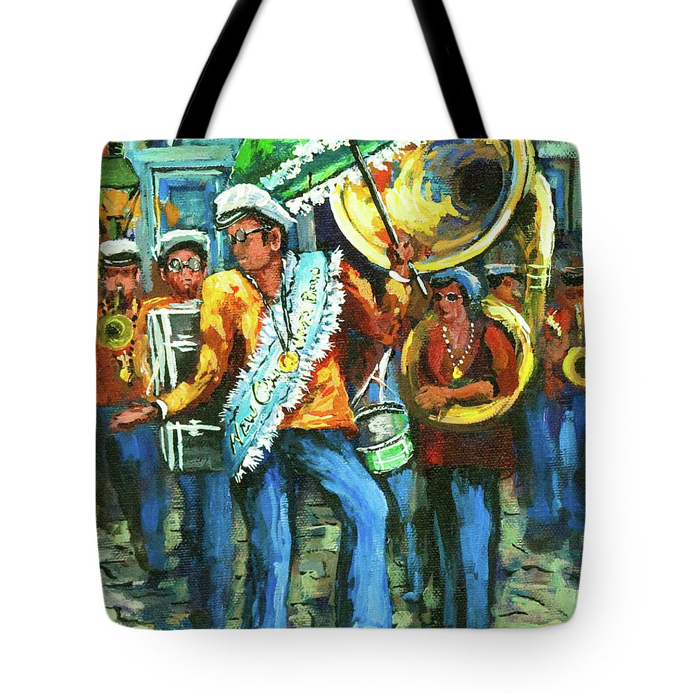 Olympia Tote Bag featuring the painting Olympia Brass Band by Dianne Parks