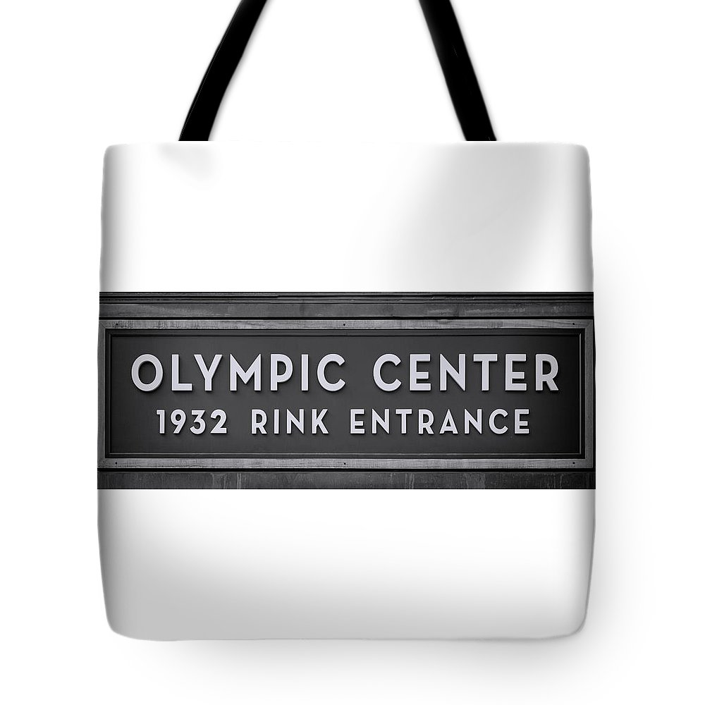 Lake Placid Tote Bag featuring the photograph Olympic Center 1932 Rink Entrance - Monochrome by Stephen Stookey