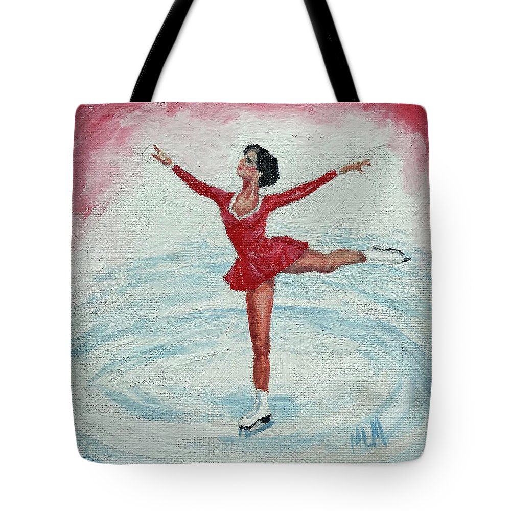 Red Tote Bag featuring the painting Olympic Figure Skater by ML McCormick