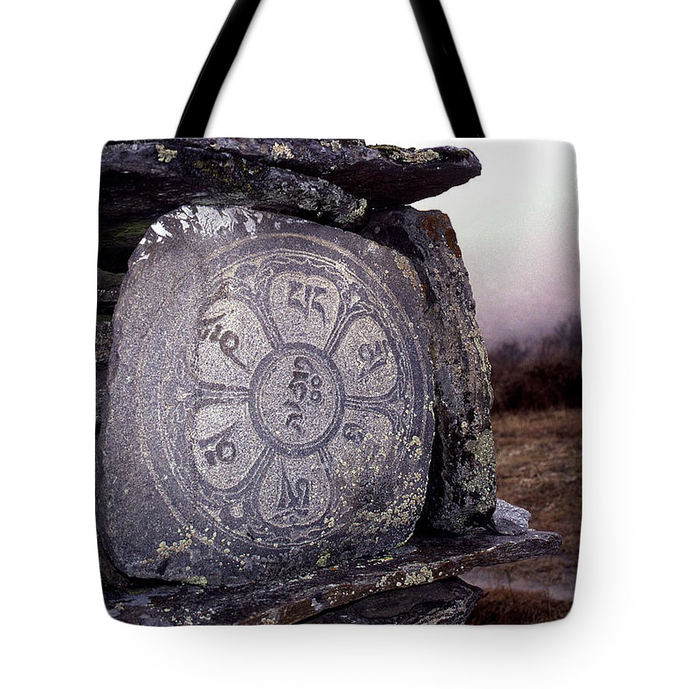 Langtang Tote Bag featuring the photograph Om Mani Padme Hum by Patrick Klauss