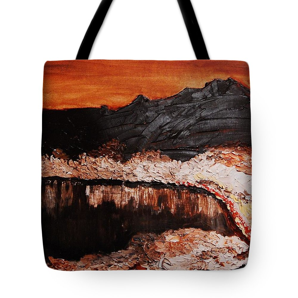 Landscape Tote Bag featuring the painting Oman by Lauren Luna