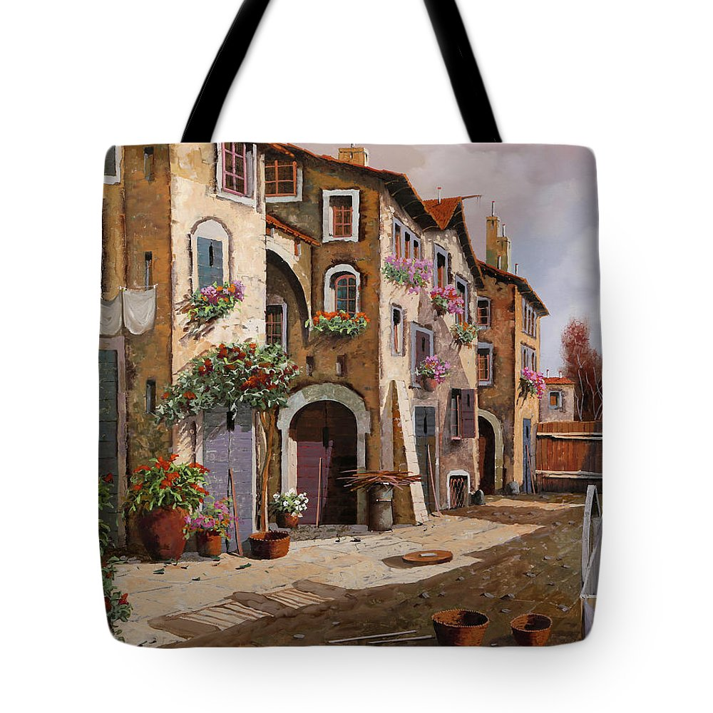 Italian Village Tote Bag featuring the painting Ombre Per Strada by Guido Borelli