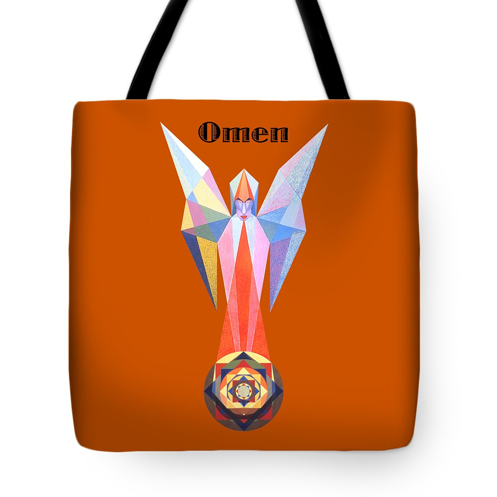 Painting Tote Bag featuring the painting Omen text by Michael Bellon