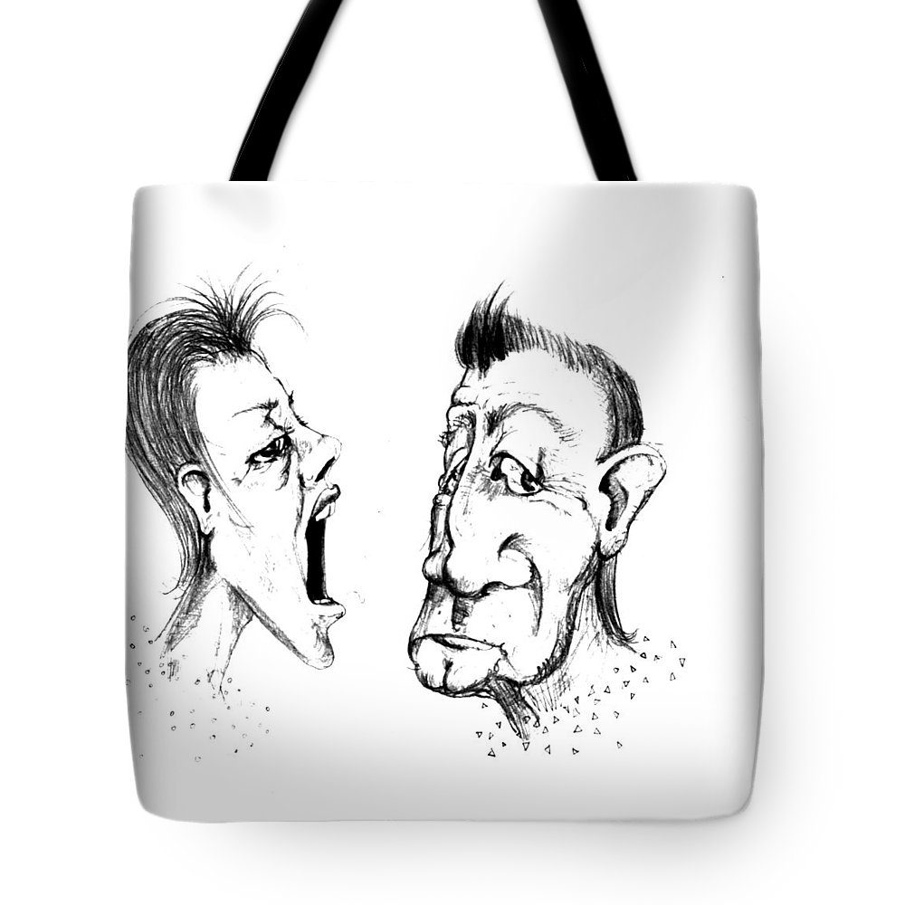 Woman Tote Bag featuring the drawing Omfem by Line Gagne