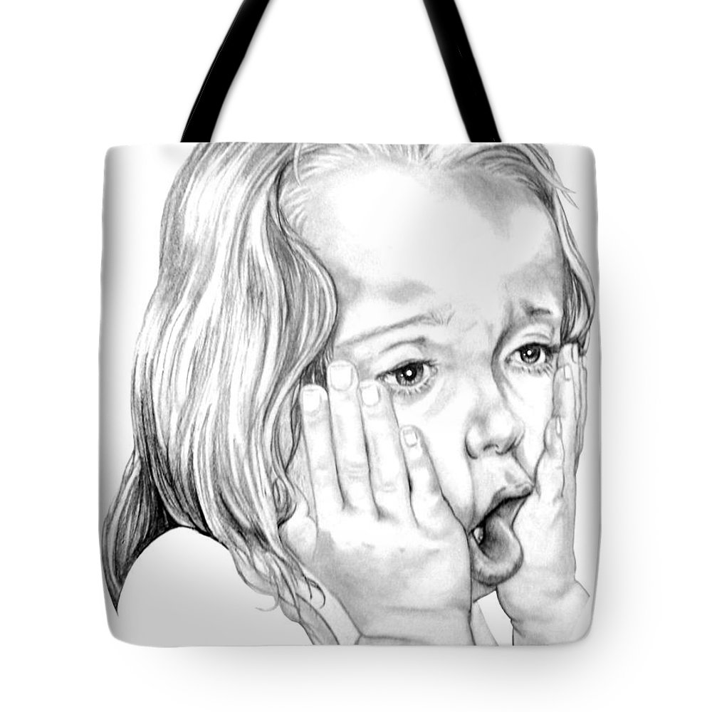 Portrait Tote Bag featuring the drawing OMG by Murphy Elliott