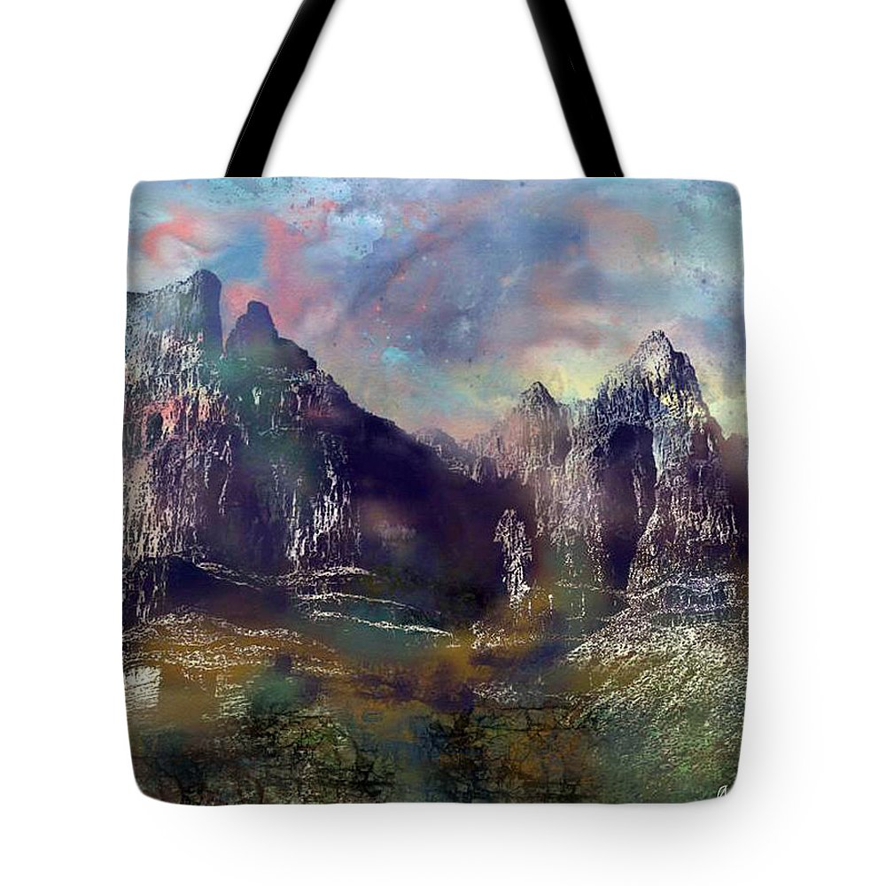Mountains Tote Bag featuring the digital art Ominous Sky by Arline Wagner