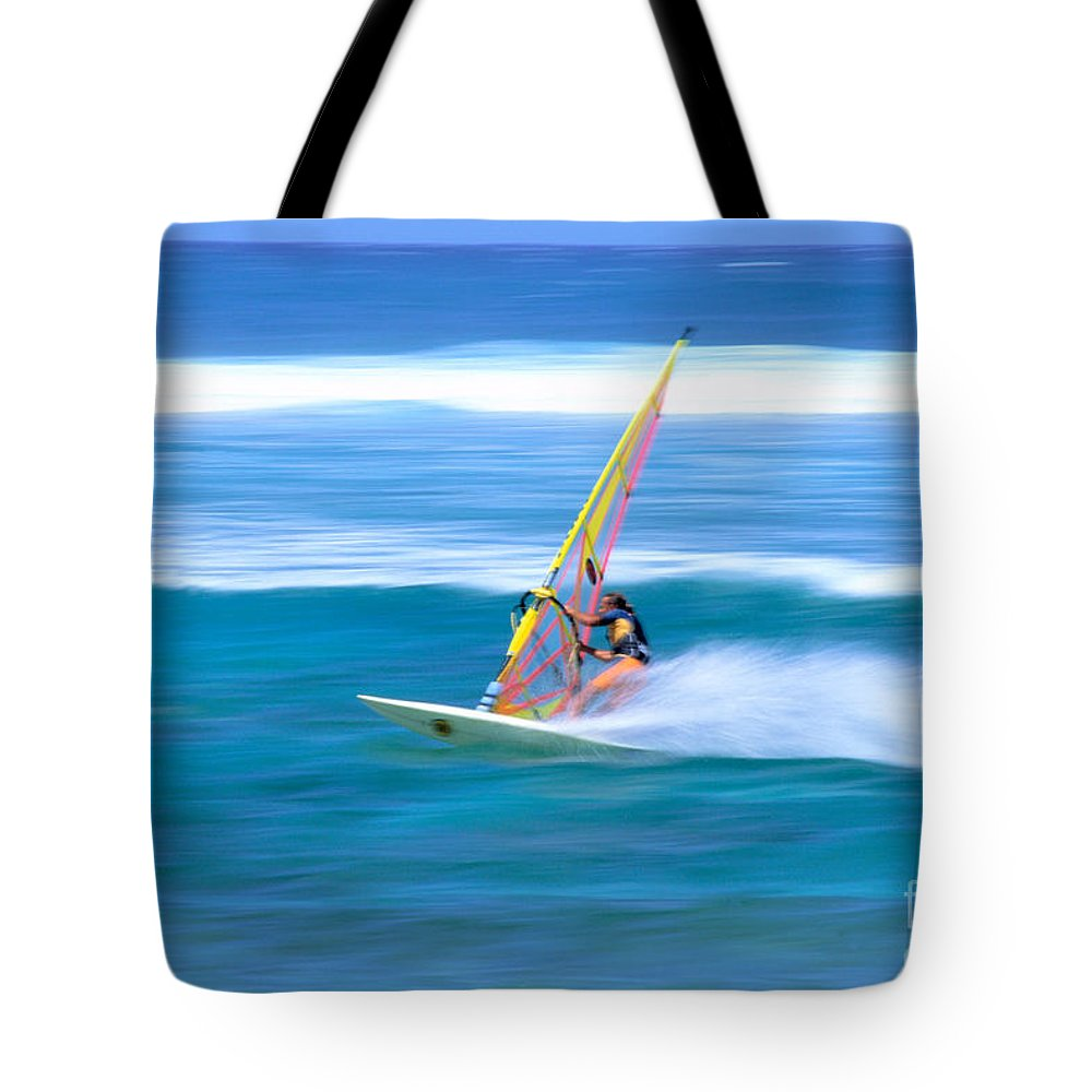 Adrenaline Tote Bag featuring the photograph On A Calm Blue Ocean by Bill Brennan - Printscapes