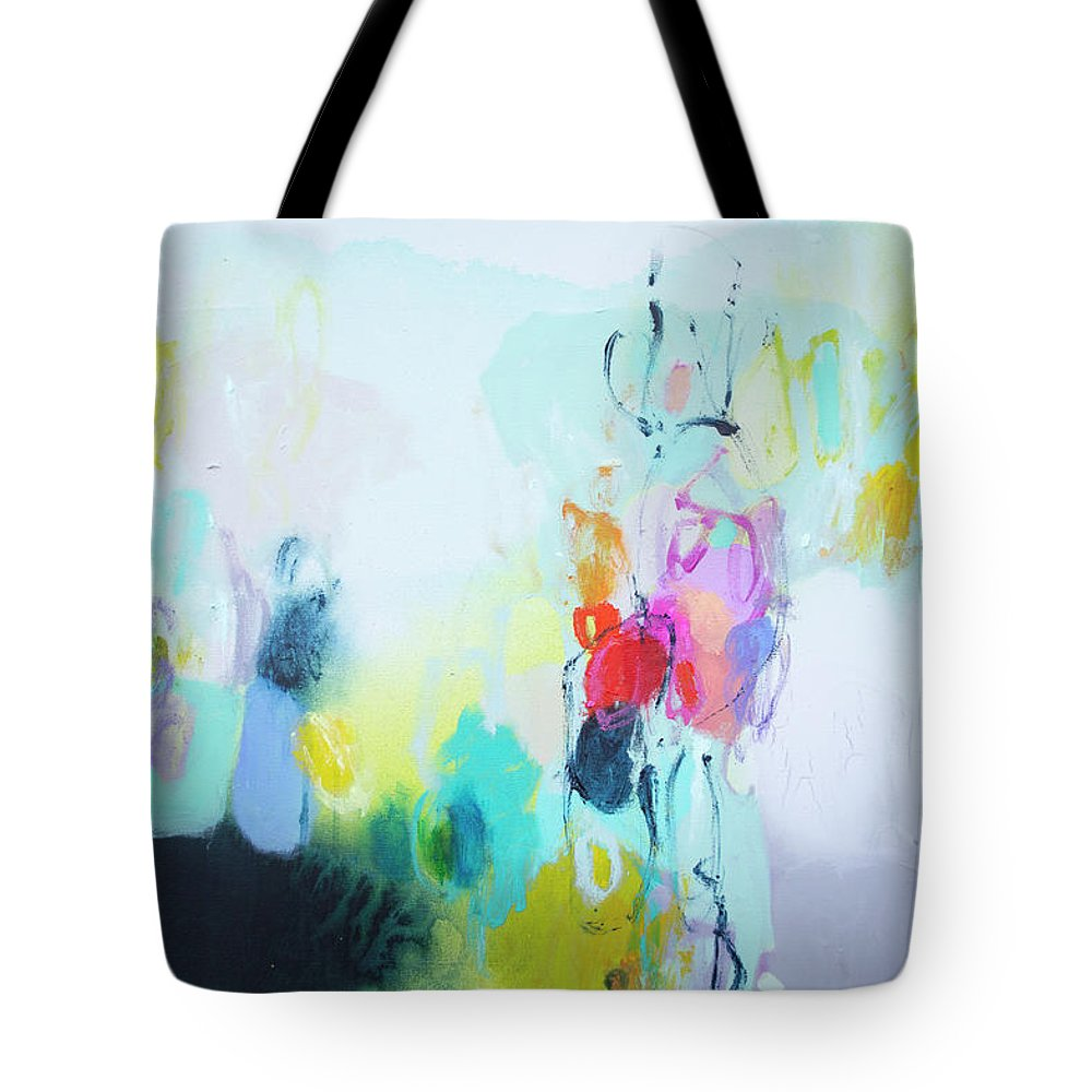 Abstract Tote Bag featuring the painting On A Road Less Travelled by Claire Desjardins