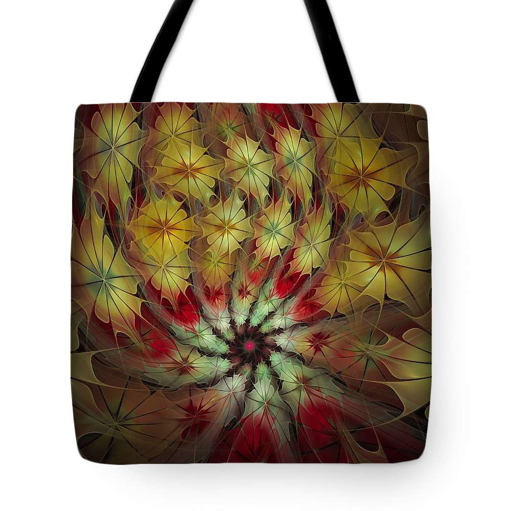 Fractal Tote Bag featuring the digital art On A Windy Autumn Day by Amorina Ashton