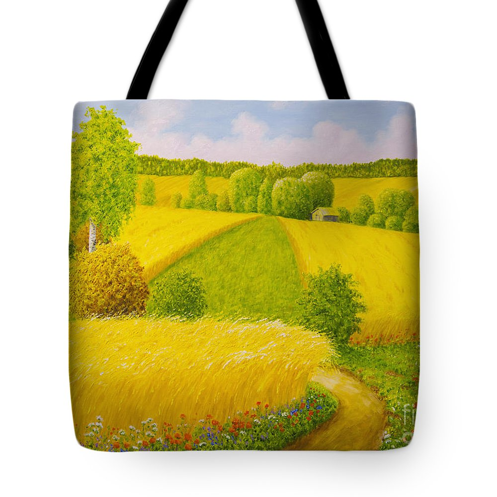 Art Tote Bag featuring the painting On August Grain Fields by Veikko Suikkanen