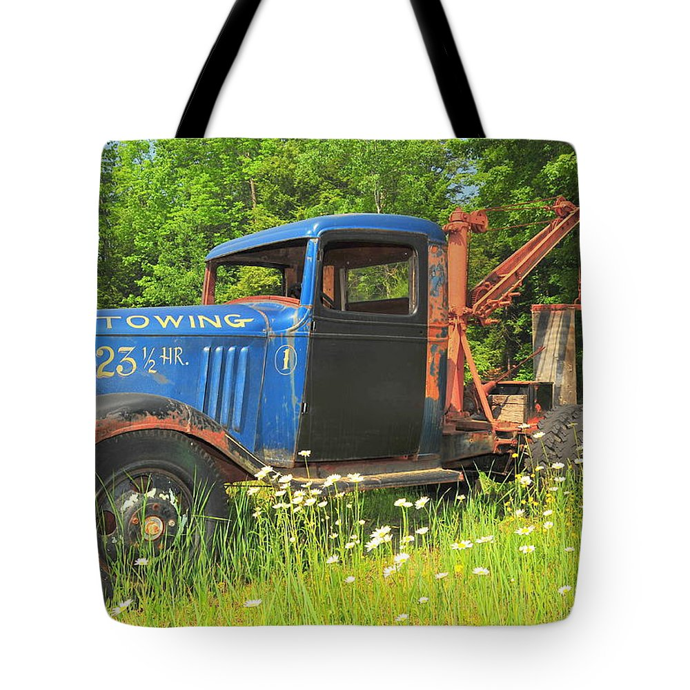Tow Truck Sepia Old Abandoned New England Daisy Daisies Flowers Flower Broken Vehicle Vintage Floral Photo Phootgraph Photography Image Old Field Backroads Tote Bag featuring the photograph On Break Too by Catherine Reusch Daley
