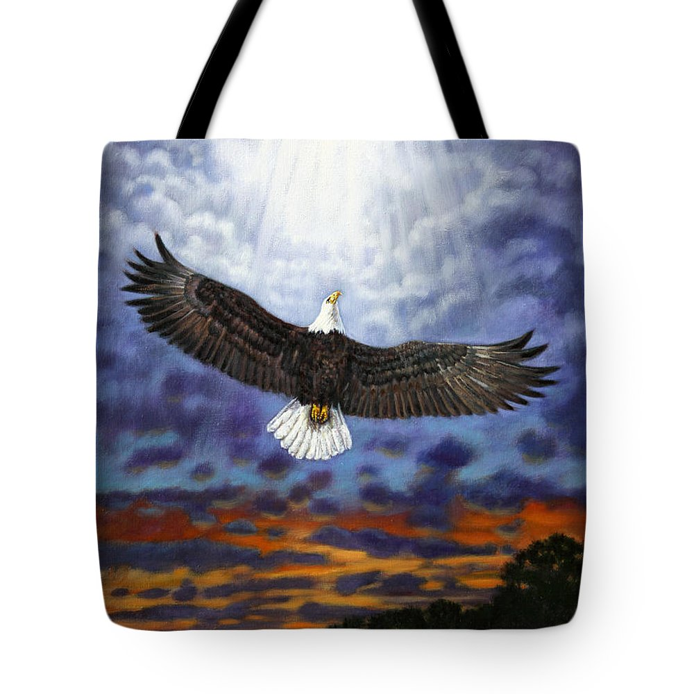 Eagle In Flight Tote Bag featuring the painting On Eagles Wings by John Lautermilch