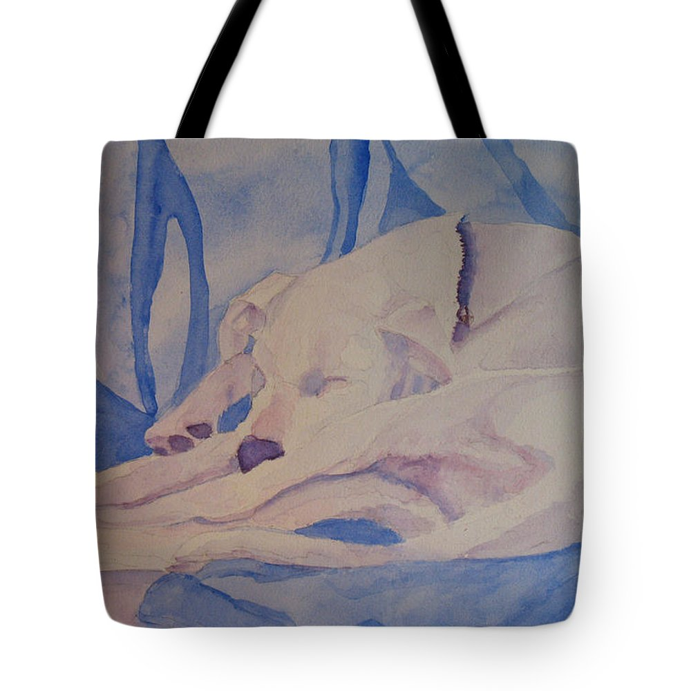 Dog Tote Bag featuring the painting On Fallen Blankets by Jenny Armitage