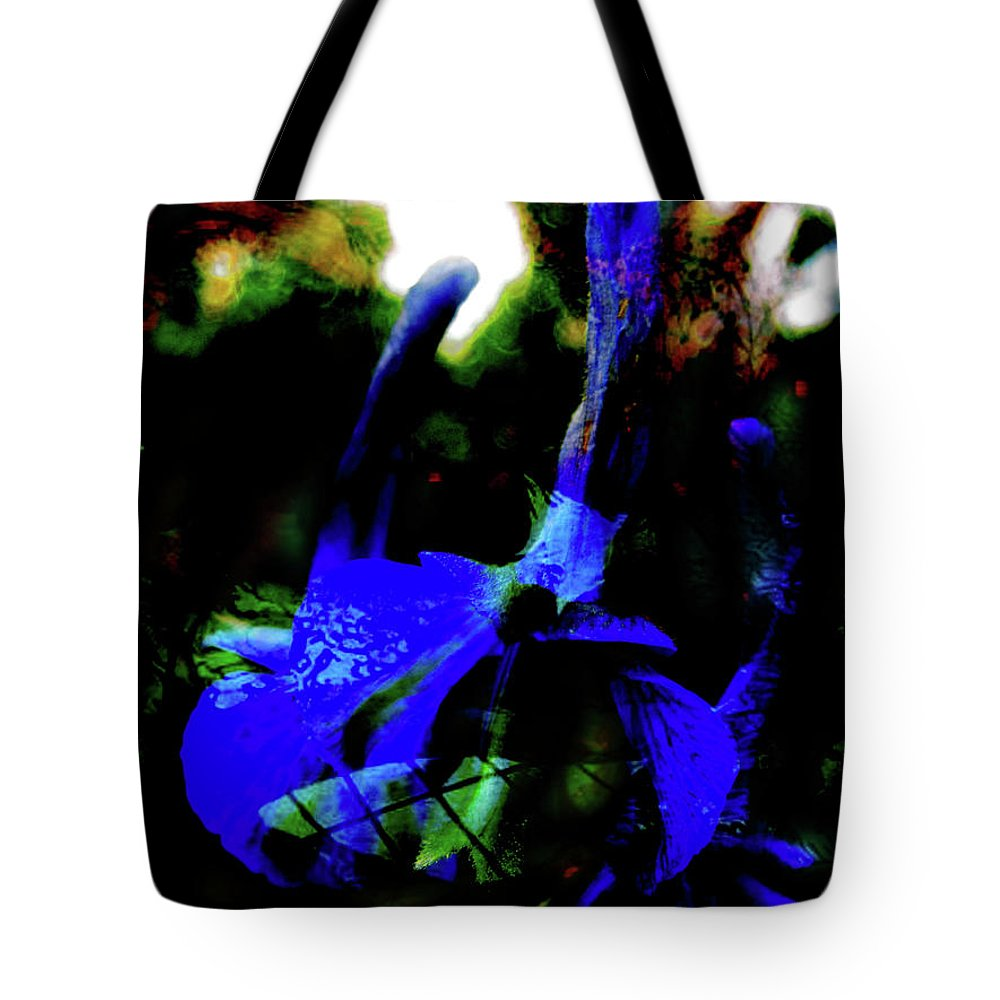 Blue Flower Tote Bag featuring the digital art On Flowers That Never Be 3 by Simon Wairiuko