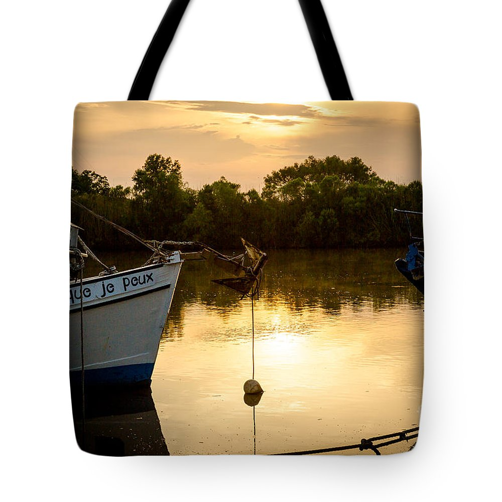 Shrimp Boat Tote Bag featuring the photograph On Golden River by Kelly Morvant