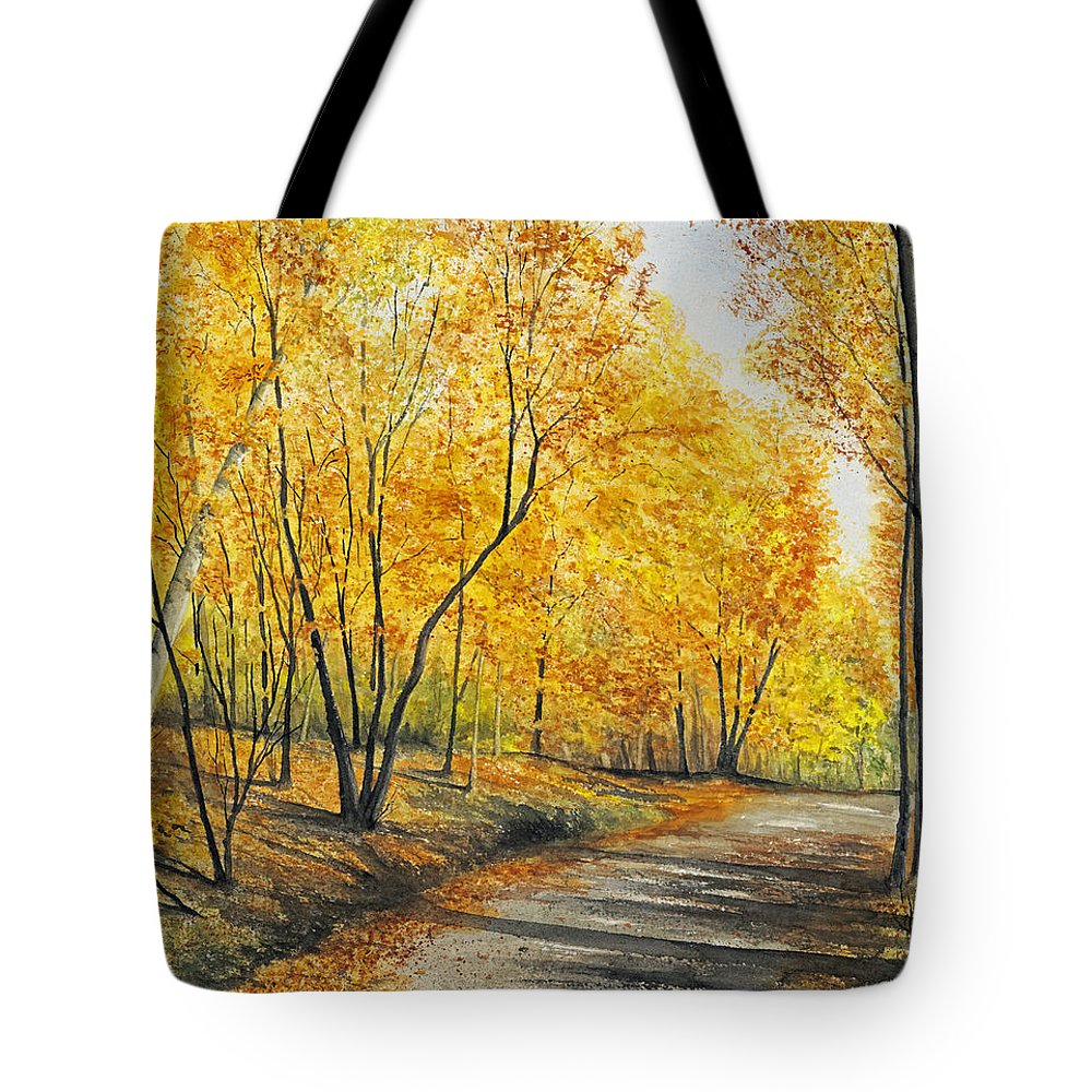 Autumn Tote Bag featuring the painting On Golden Road by Mary Tuomi