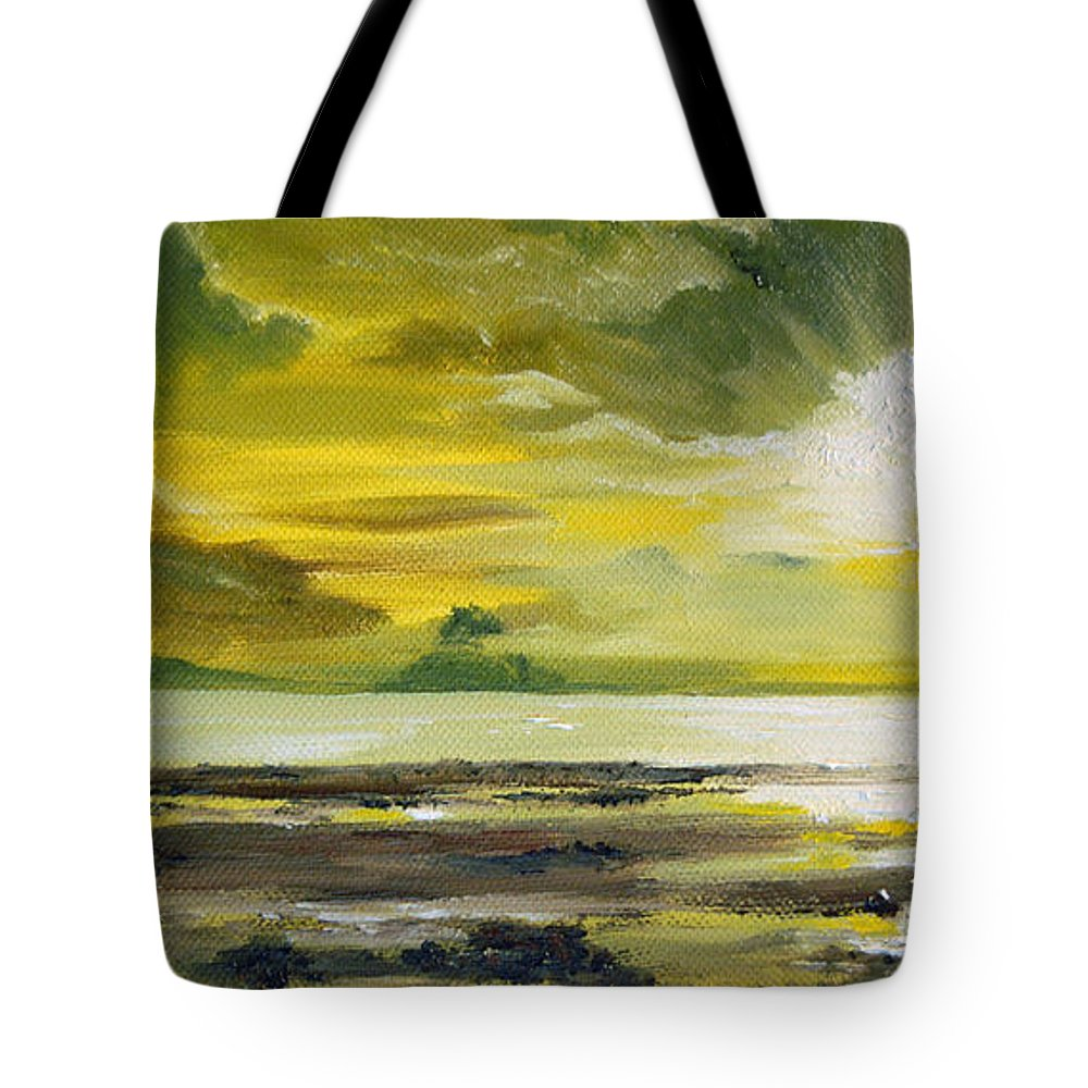 Sunset Tote Bag featuring the painting On Golden Shores by Mary Tuomi