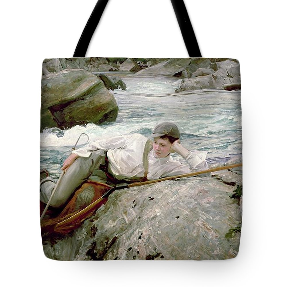 On His Holidays Tote Bag featuring the painting On His Holidays by John Singer Sargent