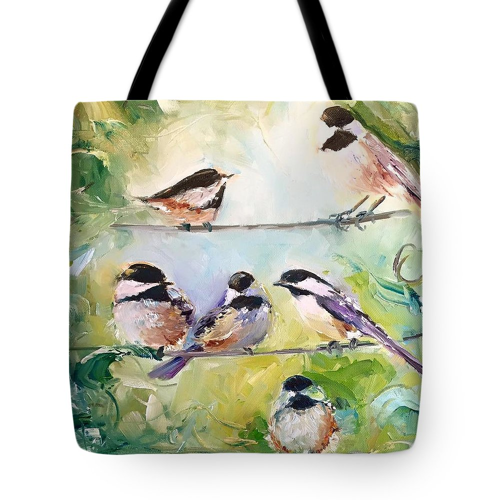 Chickadee Tote Bag featuring the painting On-Line Dating - For the Birds by Sarah Jane Conklin