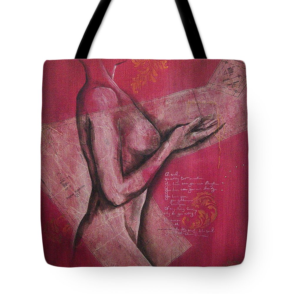 Figure Tote Bag featuring the painting On My Sleeve by Rowena Finn