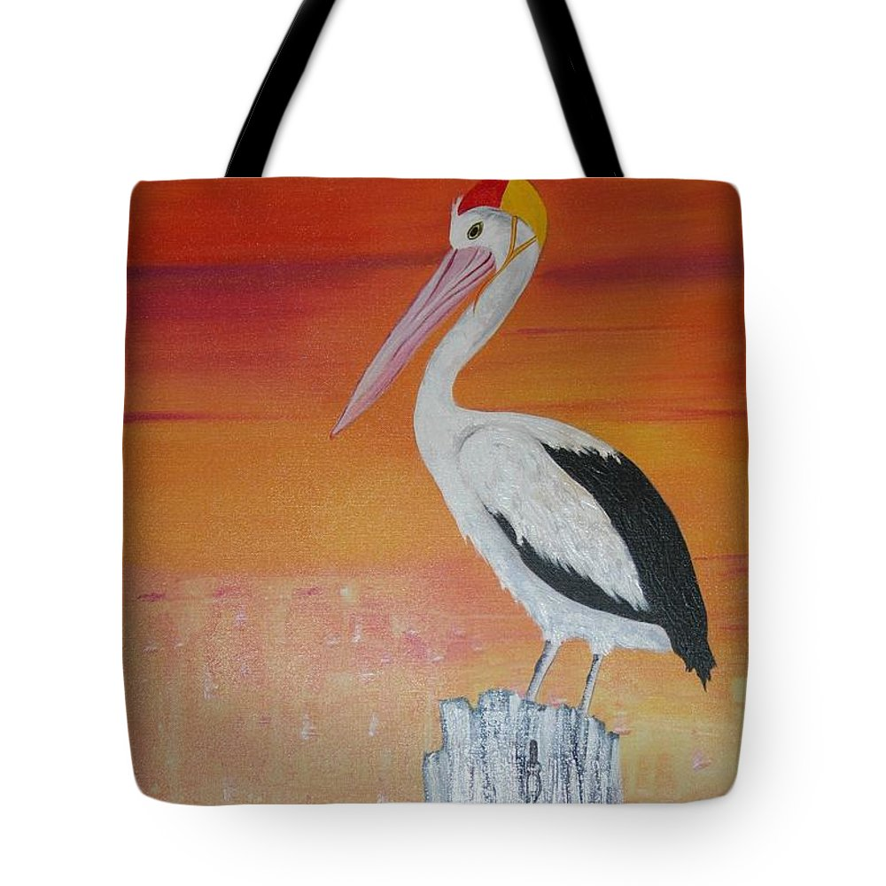 Pelican Tote Bag featuring the painting On Patrol by Lyn Olsen