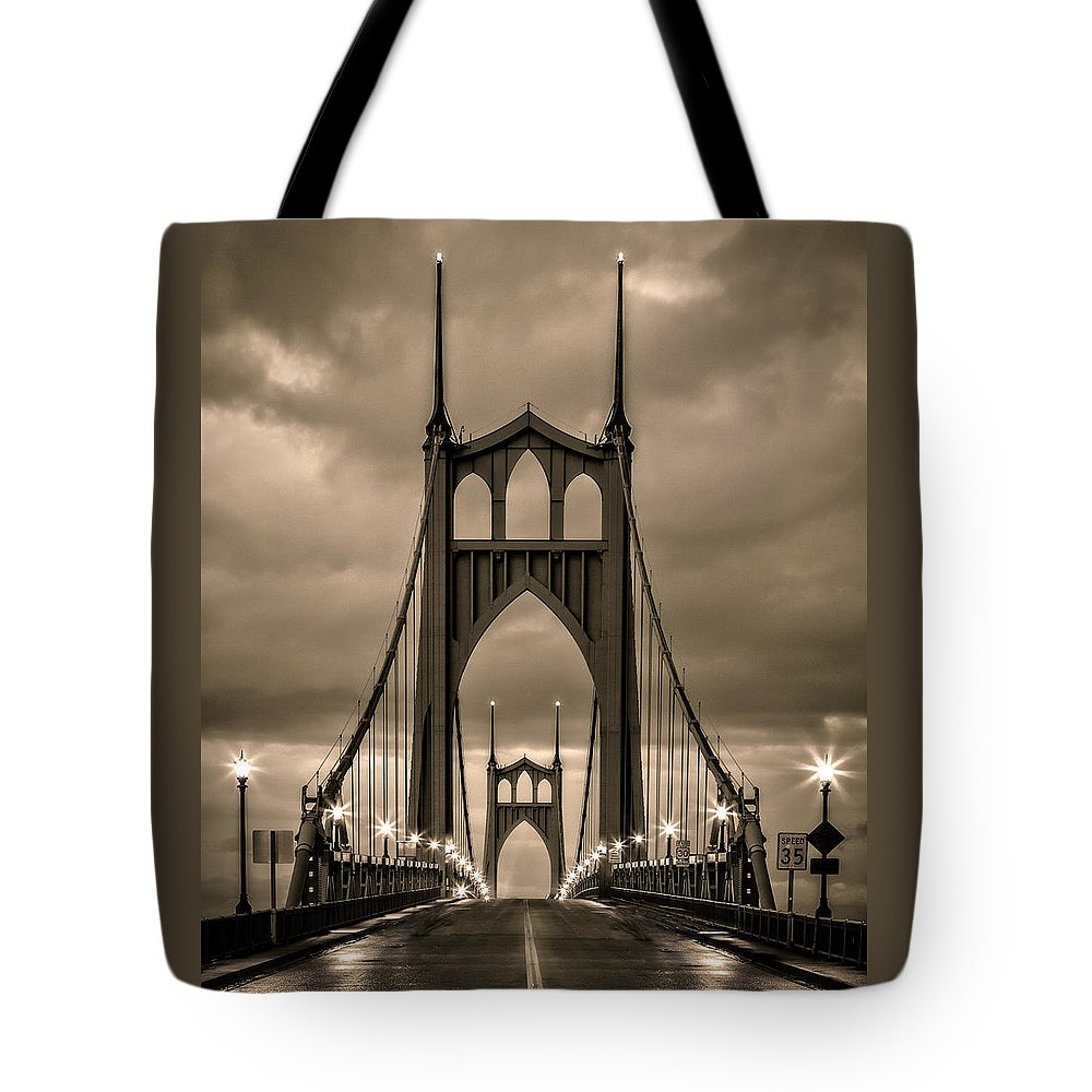 On St Johns Bridge Tote Bag featuring the photograph On St Johns Bridge by Wes and Dotty Weber